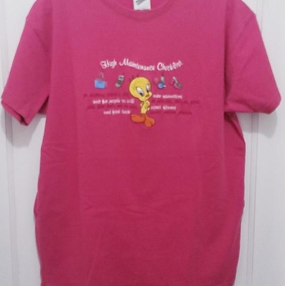 8a78b299af35b4 Warner Bros. Tops | Warner Broths Ladies M Pink Tweetybird Tee ...